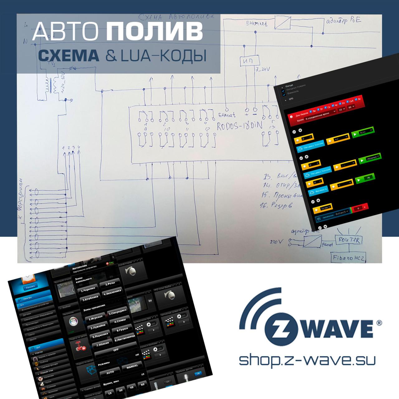 Система автополива на базе Fibaro Home Center и Ethernet-реле RODOS-18DIN